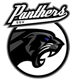 "A fierce black panther is set inside a grey circcle with text above which reads ""SGV Panthers""."