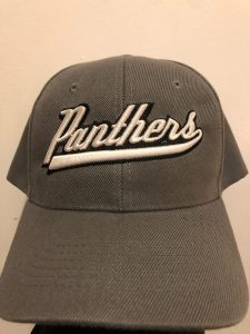 Charcoal grey baseball hat with the name Panthers embroidered on the front in white